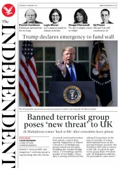 The Independent (UK) Newspaper Front Page for 16 February 2019