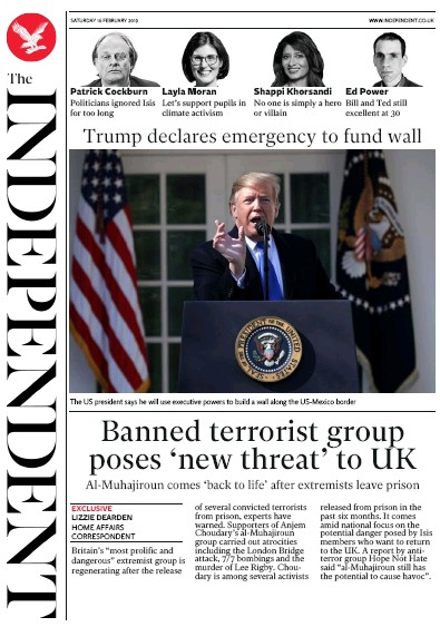 The Independent Newspaper Front Page (UK) for 16 February 2019
