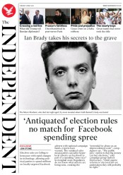 The Independent (UK) Newspaper Front Page for 16 May 2017