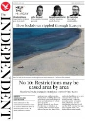 The Independent front page for 16 May 2020