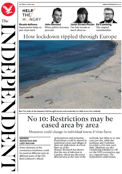 The Independent Newspaper Front Page (UK) for 16 May 2020