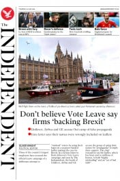 The Independent () Newspaper Front Page for 16 June 2016