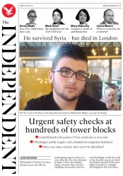 The Independent (UK) Newspaper Front Page for 16 June 2017