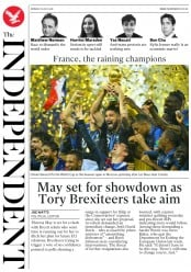The Independent (UK) Newspaper Front Page for 16 July 2018