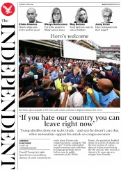 The Independent (UK) Newspaper Front Page for 16 July 2019