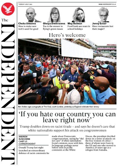 The Independent Newspaper Front Page (UK) for 16 July 2019