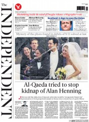 The Independent (UK) Newspaper Front Page for 16 September 2014