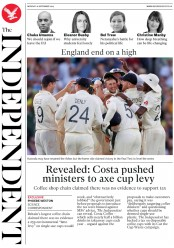 The Independent (UK) Newspaper Front Page for 16 September 2019