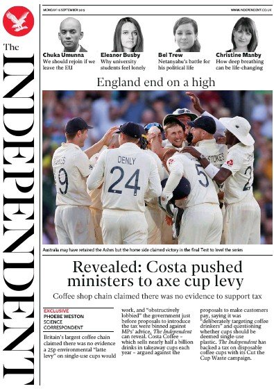 The Independent Newspaper Front Page (UK) for 16 September 2019