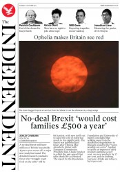 The Independent (UK) Newspaper Front Page for 17 October 2017