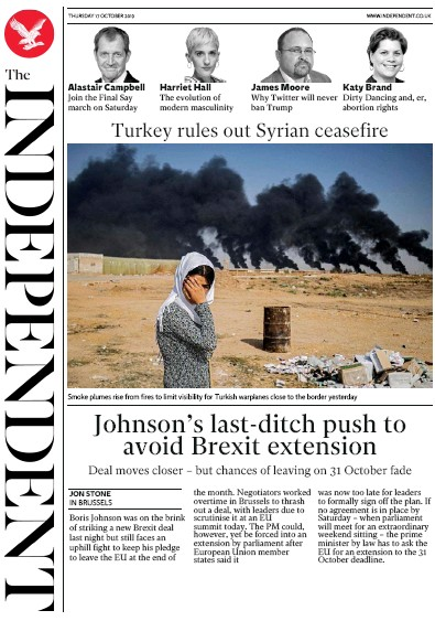 The Independent Newspaper Front Page (UK) for 17 October 2019