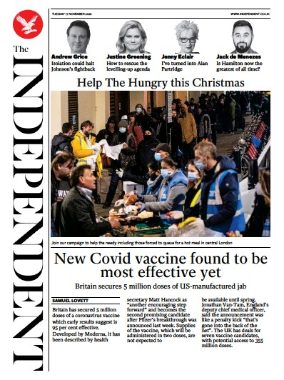The Independent Newspaper Front Page (UK) for 17 November 2020