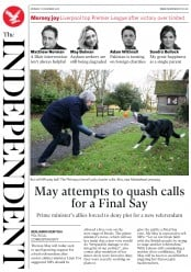 The Independent () Newspaper Front Page for 17 December 2018
