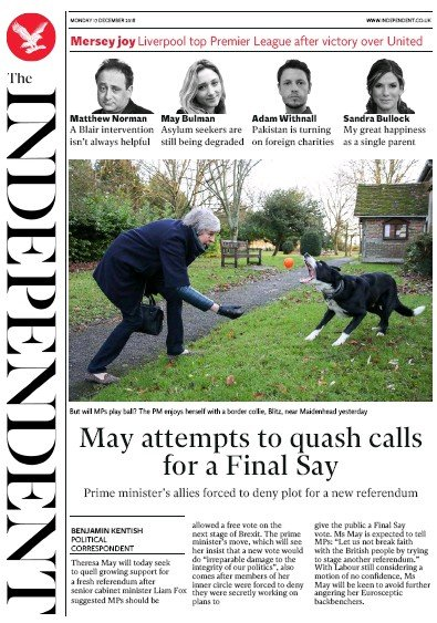 The Independent Newspaper Front Page (UK) for 17 December 2018