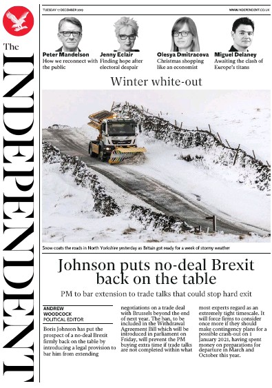 The Independent Newspaper Front Page (UK) for 17 December 2019