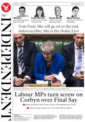 The Independent (UK) Newspaper Front Page for 17 January 2019