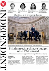 The Independent (UK) Newspaper Front Page for 17 January 2020