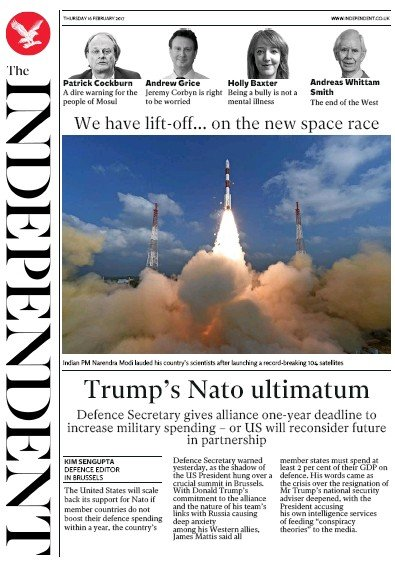 The Independent Newspaper Front Page (UK) for 17 February 2017