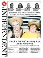 The Independent front page for 17 February 2021