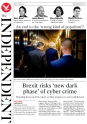 The Independent (UK) Newspaper Front Page for 17 March 2017