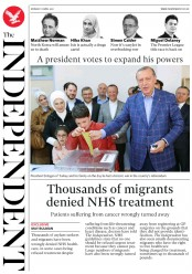 The Independent (UK) Newspaper Front Page for 17 April 2017