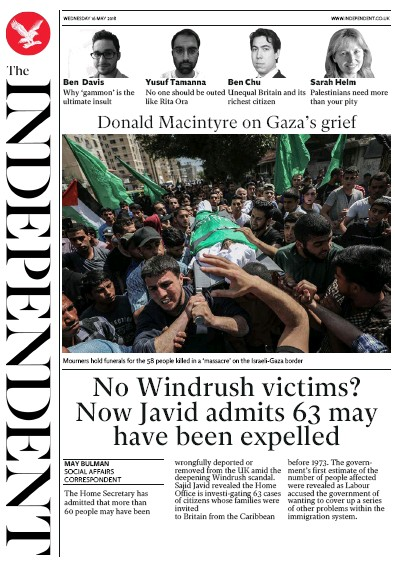 The Independent Newspaper Front Page (UK) for 17 May 2018