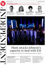 The Independent (UK) Newspaper Front Page for 17 June 2019