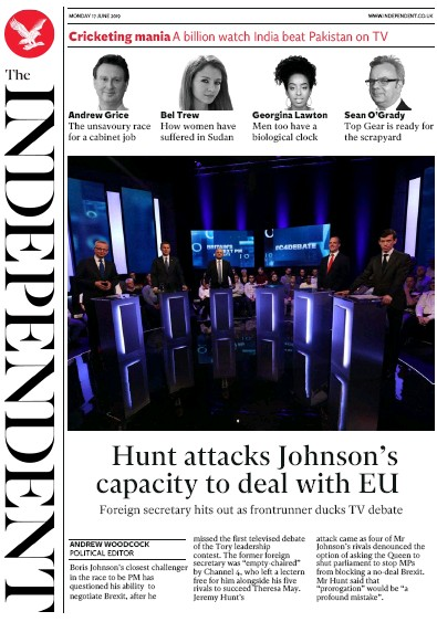 The Independent Newspaper Front Page (UK) for 17 June 2019