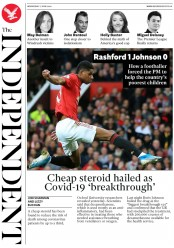 The Independent (UK) Newspaper Front Page for 17 June 2020