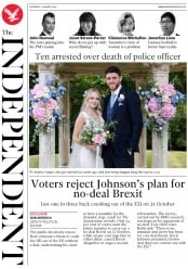 The Independent (UK) Newspaper Front Page for 17 August 2019
