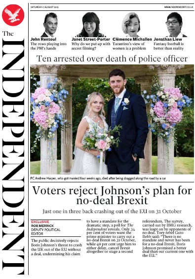 The Independent Newspaper Front Page (UK) for 17 August 2019