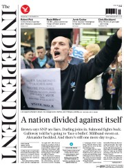 The Independent (UK) Newspaper Front Page for 17 September 2014