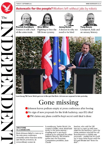 The Independent Newspaper Front Page (UK) for 17 September 2019