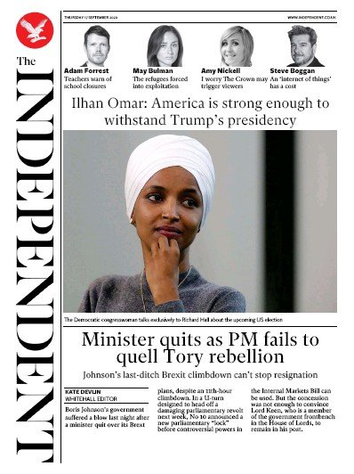 The Independent Newspaper Front Page (UK) for 17 September 2020