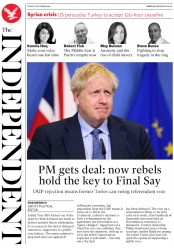 The Independent (UK) Newspaper Front Page for 18 October 2019