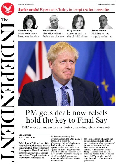 The Independent Newspaper Front Page (UK) for 18 October 2019