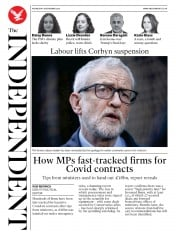The Independent front page for 18 November 2020