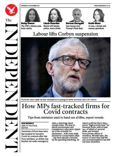 The Independent Newspaper Front Page (UK) for 18 November 2020