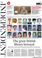 The Independent (UK) Newspaper Front Page for 18 December 2014