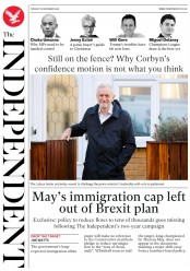 The Independent (UK) Newspaper Front Page for 18 December 2018