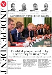 The Independent () Newspaper Front Page for 18 December 2019
