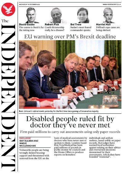 The Independent Newspaper Front Page (UK) for 18 December 2019
