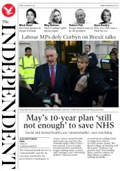 The Independent (UK) Newspaper Front Page for 18 January 2019