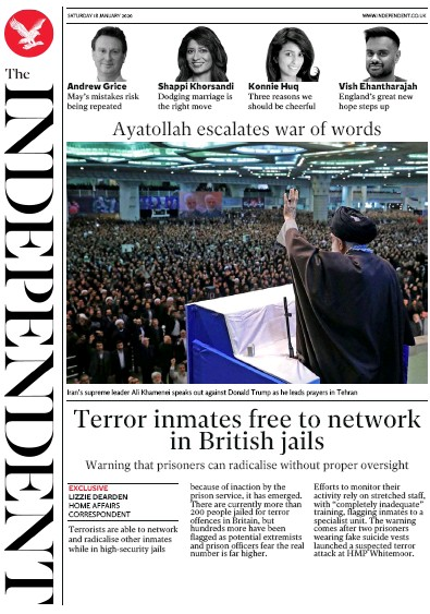 The Independent Newspaper Front Page (UK) for 18 January 2020