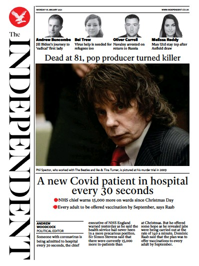 The Independent Newspaper Front Page (UK) for 18 January 2021
