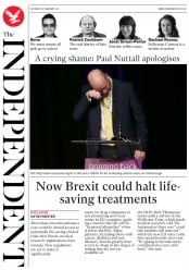 The Independent (UK) Newspaper Front Page for 18 February 2017