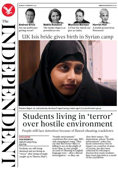 The Independent Newspaper Front Page (UK) for 18 February 2019