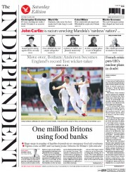 The Independent (UK) Newspaper Front Page for 18 April 2015