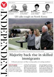 The Independent (UK) Newspaper Front Page for 18 April 2017