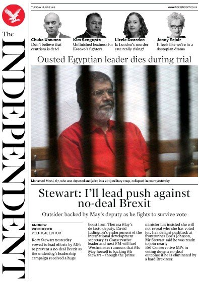 The Independent Newspaper Front Page (UK) for 18 June 2019